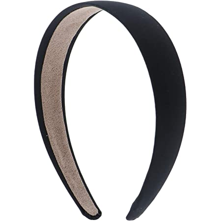 Black Velvet hard Headband Hair Band no grip teeth 1 1//8 inch wide Dressy Casual