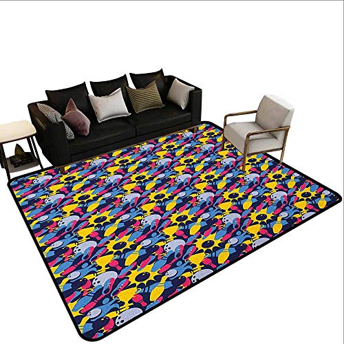 MsShe Kinderspeelgoed tapijt Bowlen, Kleurrijke Pins Bowling Club Sportuitrusting Vrije tijd Waterkleur Stijl Print, Multi kleuren