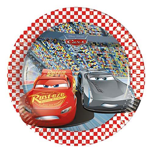 Procos 99952 87921 - Teller Cars, 8 Stück, Durchmesser 20 cm, Einwegteller, Kindergeburtstag, Partygeschirr