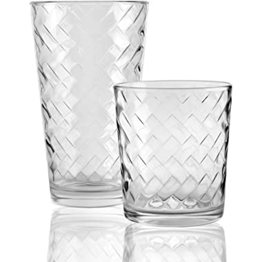 Circleware Chevron Huge 16-Piece Glassware Set of Highball Tumbler Drinking Glasses and Whiskey Cups for Water, Beer, Juice, Ice Tea Bar Beverage, 8-15.75 oz & 8-12.5 oz, 16pc