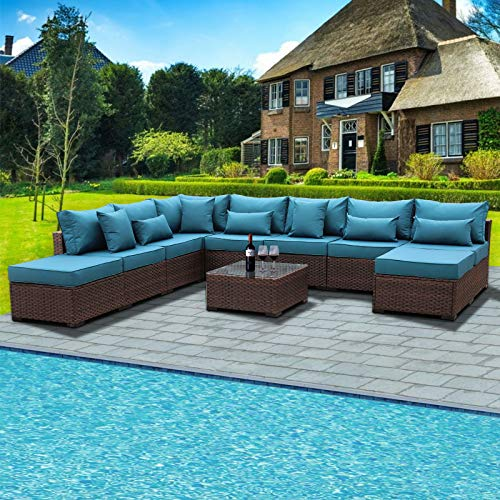 Outdoor Patio Brown Rattan 10 Piece Sectional Furniture Set PE Wicker Conversation Sofa with Peacock Blue Cushion