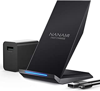 「USB充電器セット」NANAMI Qi ワイヤレス急速充電器 Quick Charge 3.0充電アダプター付属 置くだけ充電 充電スタンド 5W / 7.5W / 10W qi充電 iPhone Xs/XR/Xs Max/X/ 8/ 8 Plus、Galaxy S10/ S10+ / S9/ S9+/ S8/ S8+、 Qi機能搭載機種対応 日本語取扱説明書付 USBケーブル付属 ブラック