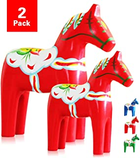 Set of 2 Hand Painted Swedish Wooden Dala Horse Figurine (Red) 9.4