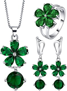 VPbao Flower Round Crystal Pendant 925 Sterling Silver Plated Jewellery Sets Green