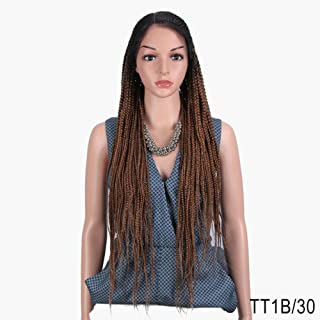 Braided Synthetic Lace Front Wig for Women Free Parting Red Ombre Brown Ponytail Crochet Braid Hair Fashion,TT1B-30,34inches