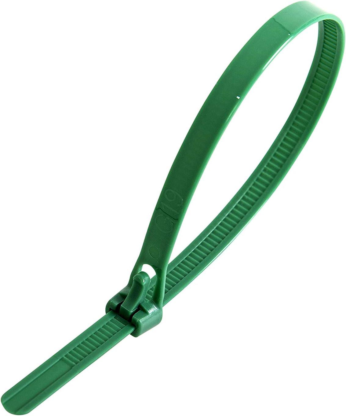 Gocableties 100 Stück Kabelbinder Wiederverwendbar Grün 250 Mm X 7 6 Mm Premiumqualität Kabelbinder Lösbar Set Baumarkt