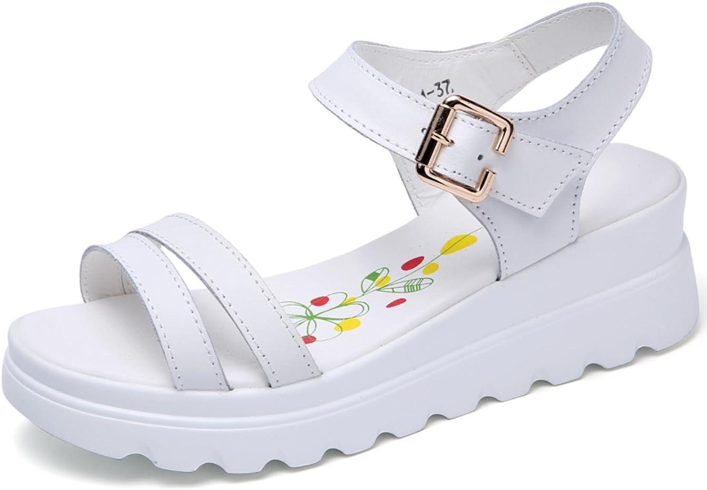 Women Wedge Sandals Fashion Concise Peep Toe Split Leather Platform Sandals Comfortable Soft Summer