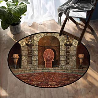 Gothic Contemporary Synthetic Rug Throne of King in Vintage Style Palace Chandelier Medieval Architecture Theme Dining Table Rugs D66 Inch