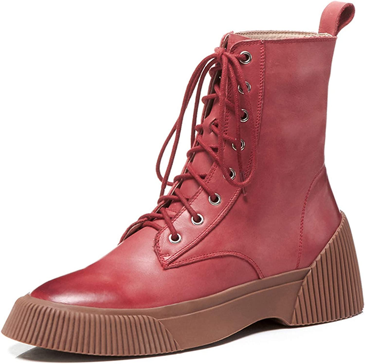 Fashion Winter Round Toe Boots for Women with Lace Up Casual Short Block Anti-Slip Martin Boots Ladies Girls Indoor Outdoor Daily Wear,Red