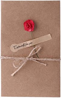 Artificial Flowers Greeting Cards-Blank Note Kraft Paper Invitation Cards for Birthday,Business,Wedding,Graduation,Baby Shower(20Pcs)
