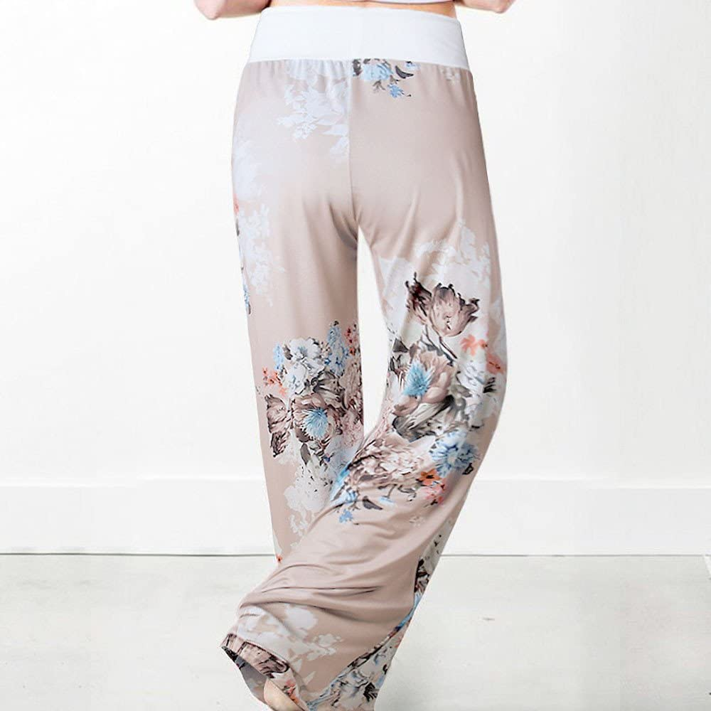 SCOSKT Pantalons De Yoga pour Femmes, Imprimés Floraux D'Été, Cordon De Serrage, Jambe Large, Femme, Leggings Imprimés en 3D, Jambières Extensibles L