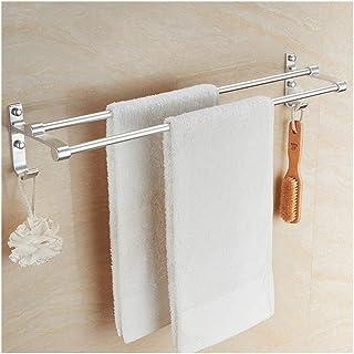 Étagère d'angle Douche 12~31 pouces Salle de bains Porte-serviettes double de rangement Organisateur Hanger Espace Alumini...