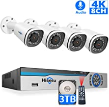 【8CH Expandable】 4K PoE Camera Security System,Hiseeu 4Pcs 8MP UltraHD Camera+8CH..