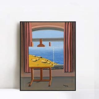 INVIN ART Framed Canvas Giclee Print Art The Human Condition, 1935 by Rene Magritte Wall Art Living Room Home Office Decorations(Black Slim Frame,24