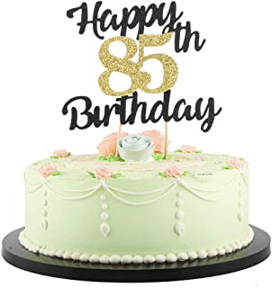 LVEUD Happy Birthday Cake Topper Black Font Golden Numbers 85th Birthday Happy Cake Topper -Birthday Party Decorations (85th)