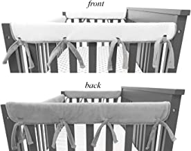 American Baby Company 2 Pack Heavenly Soft Chenille Reversible Crib Rail Cover for Side Rails, Gray/White, Narrow for Rails Measuring up to 8