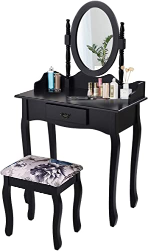 2021 Giantex Vanity Set with Oval Mirror and Cushioned high quality Stool, Wood sale Dressing Table with Drawers Storage Shelf, Bedroom Bathroom Makeup Table with Rotatable Mirror for Girls Women (Black, 1 Drawer) online