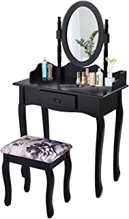 Giantex Vanity Set with Oval Mirror and Cushioned Stool, Wood Dressing Table with Drawers Storage Shelf, Bedroom Bathroom Makeup Table with Rotatable Mirror for Girls Women (Black, 1 Drawer)
