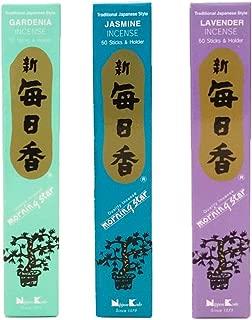 nippon kodo Morning Star Incense Bundle 3 x 50 Sticks Boxes (Jasmine, Gardenia, Lavender) - Premium Incense Sticks from Japan