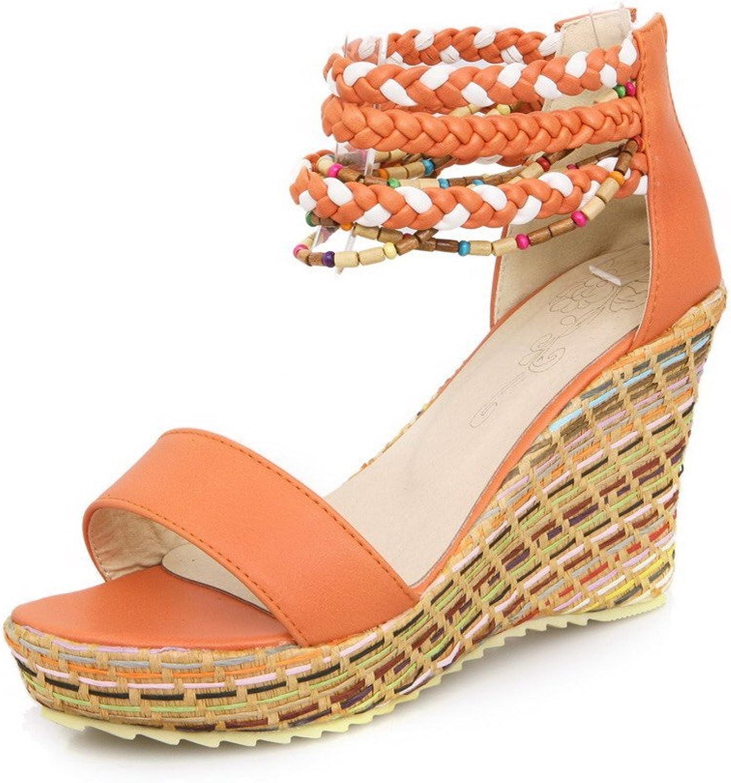 AllhqFashion Women's Open Toe Zipper Pu Assorted color High Heels Sandals