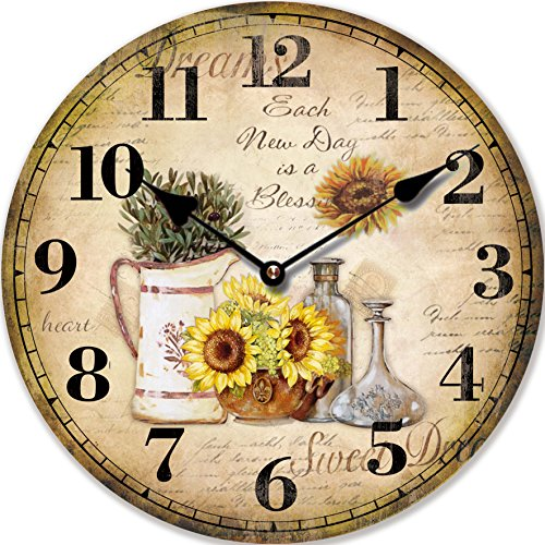 Tinas Collection Orologio da Parete, Orologio Shabby Chic da Parete, Orologio Muro, Orologio per Cucina (Girasol)