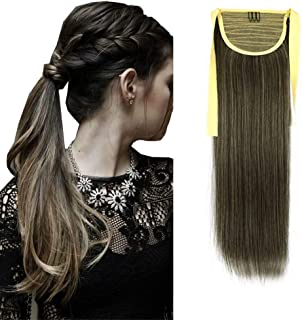 """iLUU 24"""" Synthetic Hair Ponytail Extensions Highlighted Color Binding Tie Up Pony Tails Straight Clip on Ponytail Hairpiec..."""