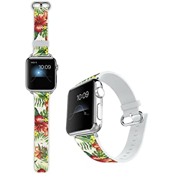 Edition Retro Colorful Horizontal Stripes Floral Leather Band Replacement Strap for iWatch Series 5 Viwell Compatible with iWatch Band 42mm 44mm Series 4,Series 3,Series 2,Series 1,Sport