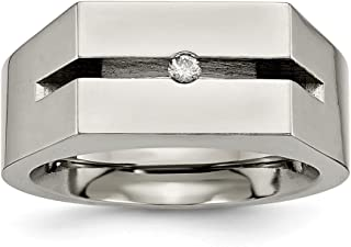 Titanium Diamond Wedding Ring Band Man Fancy Fashion Jewelry Dad Mens Gift Set