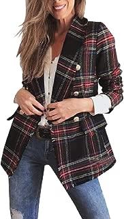 XINHEO Women Britain Plaid Oversize Skinny Blazer Jacket Suits