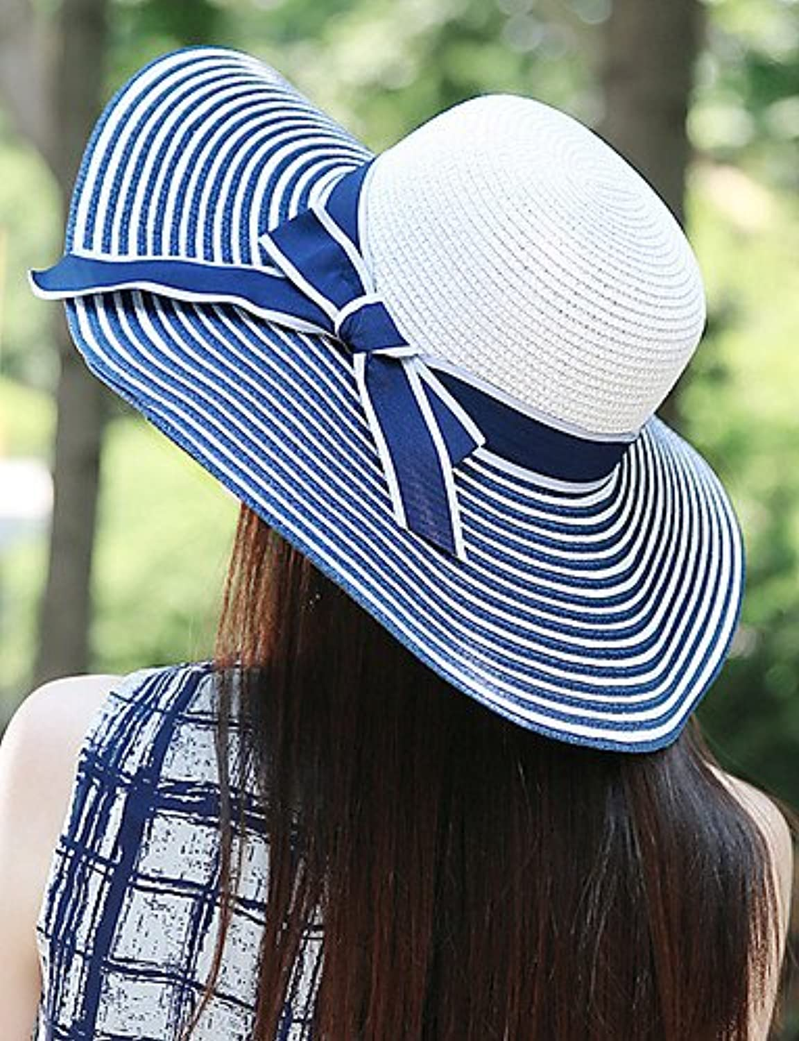 Suvsertu Women Mesh Straw Flowers and Striped Floppy Hat,Cute Party   Casual Spring Summer   Fall DSJ 695