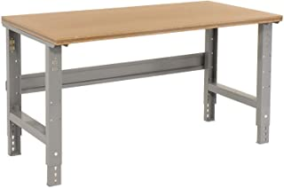 """Adjustable Height Workbench C-Channel Leg, Shop Top Square Edge, 60""""W x 30""""D, Gray"""