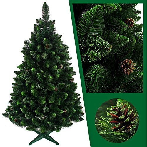 Sapphire Weihnachtsbaum künstlich Tannenbaum Christbaum 160,180,220cm Tanne Dekobaum neu (Natur mit Kiefernzapfen und grünen Glitzer220)