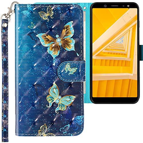 CLM-Tech Hülle kompatibel mit Samsung Galaxy A6 2018 - Tasche aus Kunstleder - Klapphülle mit Ständer & Kartenfächern, Schmetterlinge blau lila Gold