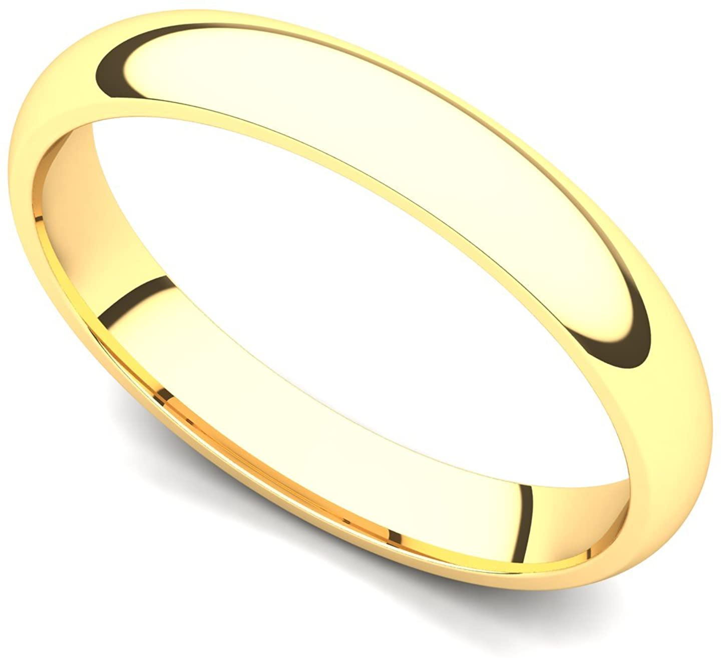 14k Yellow Gold 3mm Classic Plain Comfort Fit Wedding Band Ring
