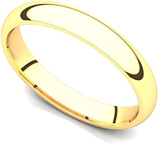18k Yellow Gold 3mm Classic Plain Comfort Fit Wedding Band Ring