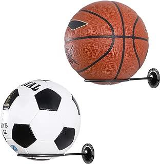 Clispeed Wall-Mounted Ball Holders Display Racks for Basketball Soccer Football Volleyball Exercise Ball (Black,2PCS)