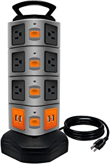 Power Strip Tower, Lovin Product Surge Protector Electric Charging Station, 14 Outlet Plugs with 4 USB Slot 6 feet Cord Wi...