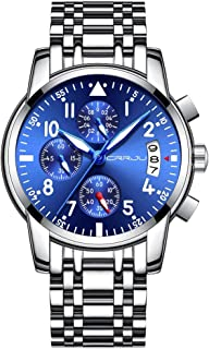 CRRJU Brand Men's Business Casual Chronograph Quartz Waterproof Wristwatch with Stainless Steel Band
