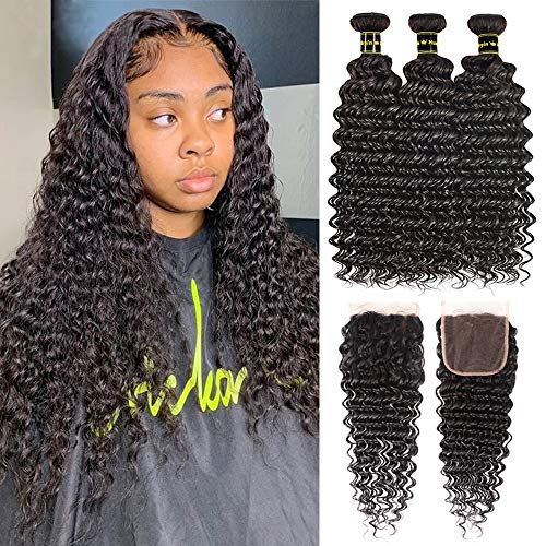 Brazilian Human Hair Deep Wave Bundles with Closure Virgin Hair Deep Curly Weave Bundles Human Hair Extensions 100% Unprocessed Wet and Wavy Hair Bundles with Closure Natural Black (14 16 18+12)