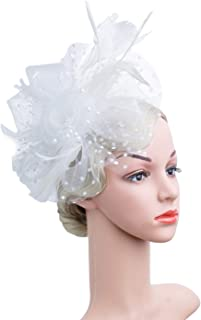 Czioe Flower Cocktail Tea Party Headwear Feather...