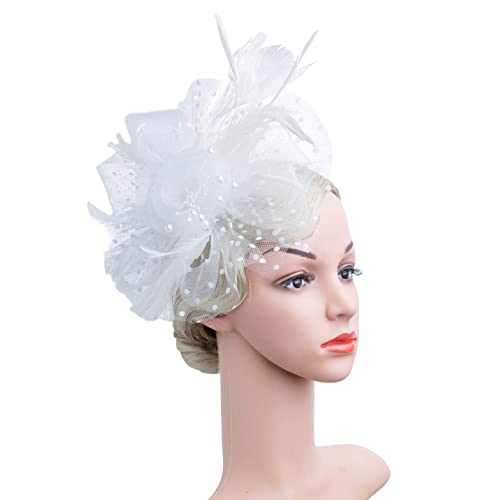 bcf0eb86 Czioe Flower Cocktail Tea Party Headwear Feather Fascinators Top Hat for  Girls and Women