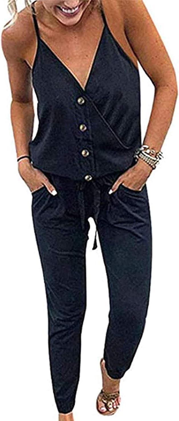 PRETTYGARDEN Women's Summer Deep V Neck Spaghetti Strap Drawstring Waist Jumpsuit Romper with Pockets