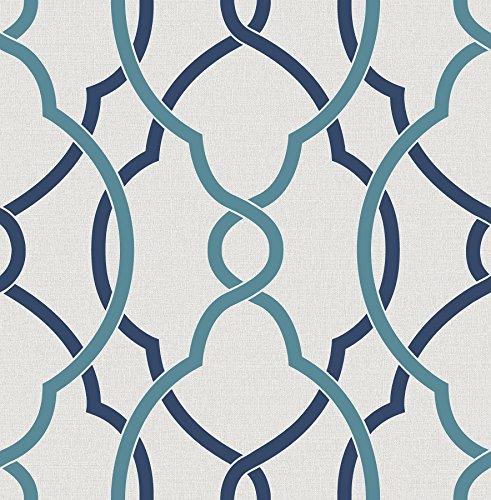BHF fd22627'Geometrie ferro lavoro Sausalito Lattice' carta da parati, colore: blu Navy