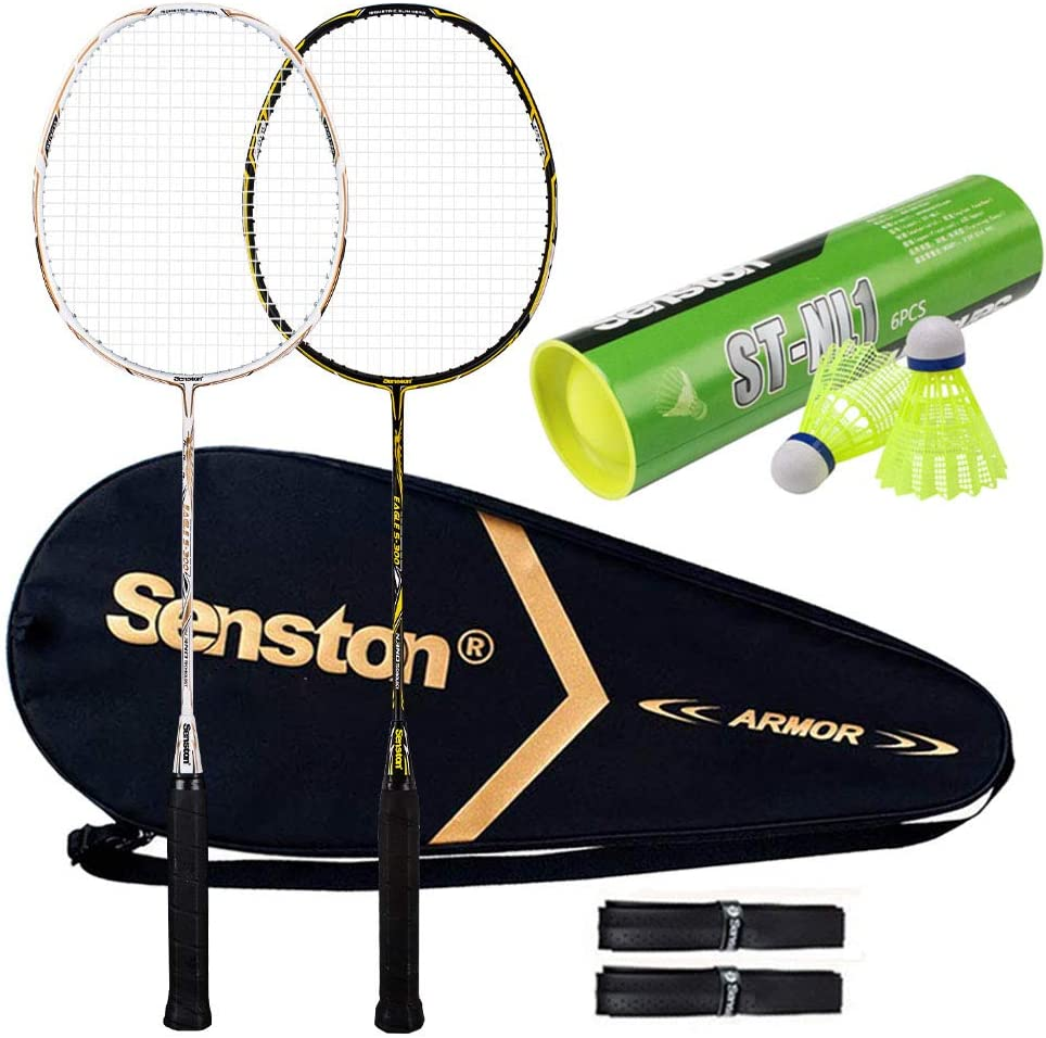 Senston 100% High quality new Full Carbon Fiber Badminton Graphite 2 Set Fees free!! Racket B