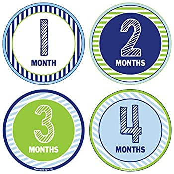 24 Pack Baby Month Stickers and Milestone Stickers by Kenco - Track Your Baby s First Year Month-by-Month and Holidays! Boys and Girls  Available