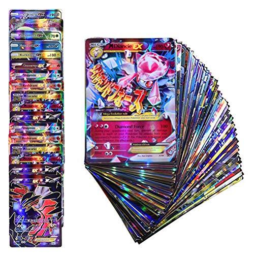 Emeili 100 Piezas Juego de Cartas Poke-mon, Tarjetas que Incluye 20 GX + 20 Mega + 1 Energy + 59 EX Arts (A)