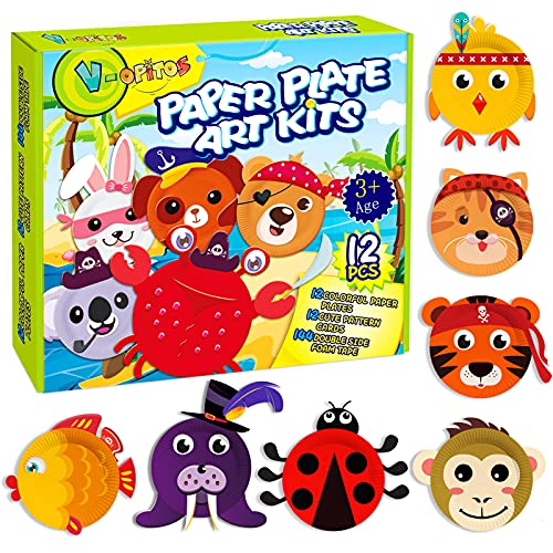 V-Opitos Arts and Crafts Kits for Kids, 12 Pack Paper Plate Crafts, Simple...