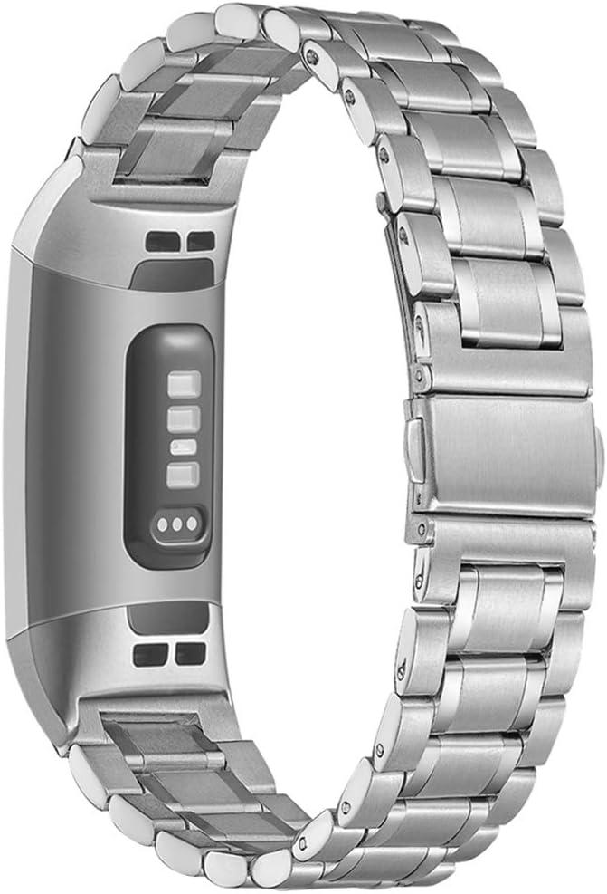 AOYU Armband Kompatibel f/ür Fitbit Charge 3 Armband//Fitbit Charge 4 Armband,Metall Edelstahl Sport Ersatzarmband Kompatibel f/ür Fitbit Charge 3//4//Charge 3 SE
