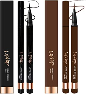 LIPHIP Liquid EyeLiner, Smudge proof Eyeliner, Sharp fine liquid Eyeliner pen, NATURAL BROWN