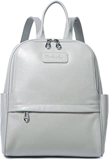 BOSTANTEN Women Leather Backpack Purse Satchel Shoulder School Bags for College Light Gray Medium